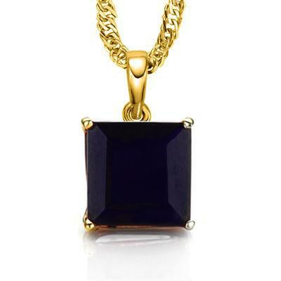SPARKLING 0.5 CARAT TW (1 PCS) GENUINE BLACK SAPPHIRE 10K SOLID YELLOW GOLD PENDANT