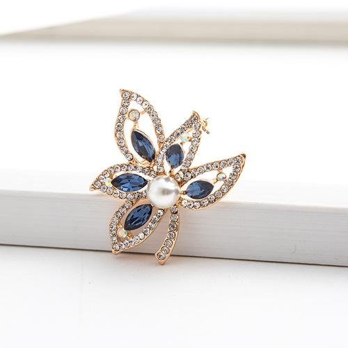 DAZZLING ! 18K GOLD PLATED GERMAN SILVER BROOCH