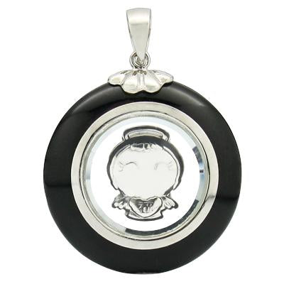 SMASHING ROTATABLE ANGEL BLACK AGATE WHITE GERMAN SILVER PENDANT