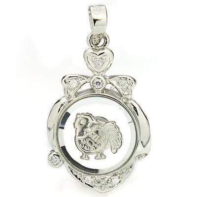 BRILLIANT WHITE GERMAN SILVER ROTATABLE CHINESE ZODIAC ROOSTER PENDANT