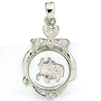 CLASSY WHITE GERMAN SILVER ROTATABLE CHINESE ZODIAC OX PENDANT