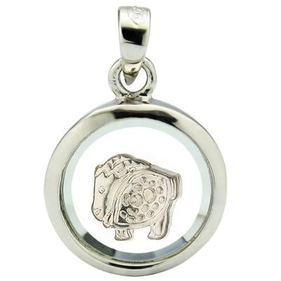 GREAT WHITE GERMAN SILVER ROTATABLE PENDANT- CHINESE ZODIAC SHEEP