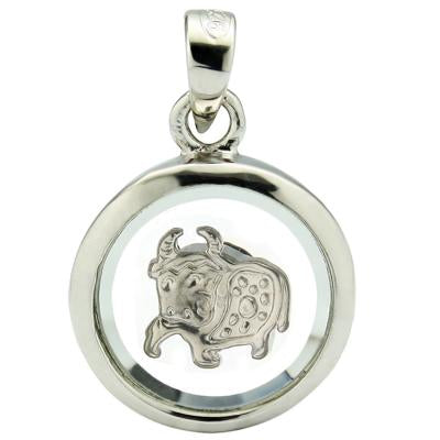 MARVELOUS WHITE GERMAN SILVER ROTATABLEPENDANT- CHINESE ZODIAC OX