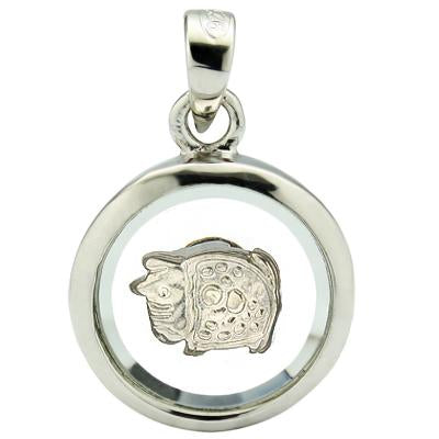 PERFECT WHITE GERMAN SILVER ROTATABLE PENDANT -CHINESE ZODIAC PIG