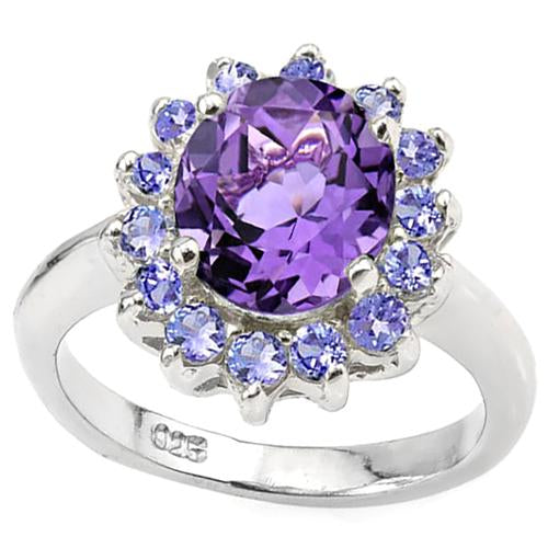 3 CT AMETHYST & 2/5 CT TANZANITE 925 STERLING SILVER RING
