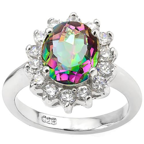 3 CT MYSTIC GEMSTONE & 1/2 CT CREATED WHITE SAPPHIRE 925 STERLING SILVER RING