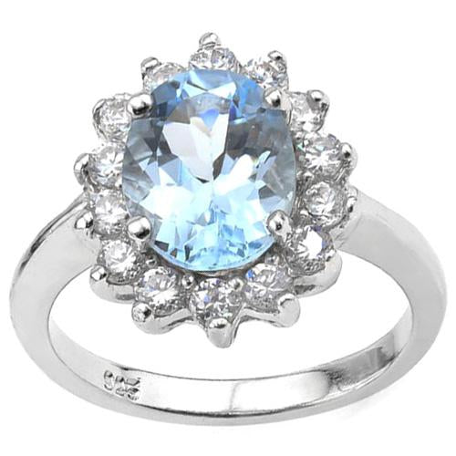 3 CT BABY SWISS BLUE TOPAZ & 1/2 CT CREATED WHITE SAPPHIRE 925 STERLING SILVER RING