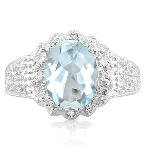 2 CT AQUAMARINE & DIAMOND 925 STERLING SILVER RING