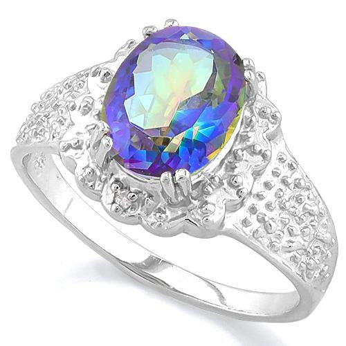 1 3/5 CT OCEAN MYSTIC GEMSTONE & DIAMOND 925 STERLING SILVER RING