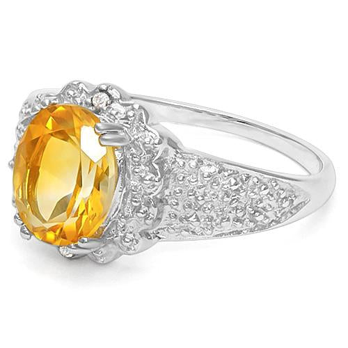 1 3/5 CT CITRINE & DIAMOND 925 STERLING SILVER RING
