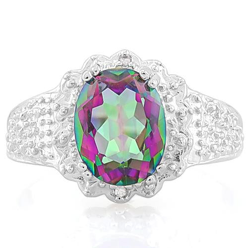 1 3/5 CT MYSTIC GEMSTONE & DIAMOND 925 STERLING SILVER RING