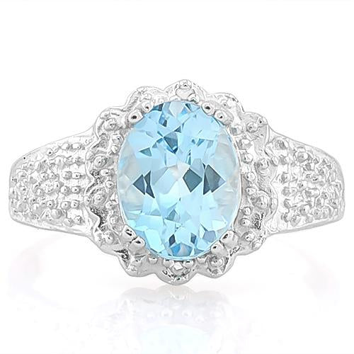 IRRESISTIBLE ! 2 1/2 CARAT BABY SWISS BLUE TOPAZ & DIAMOND 925 STERLING SILVER RING