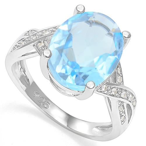 5 1/2 CT BABY SWISS BLUE TOPAZ &  1/5 CT CREATED WHITE SAPPHIRE 925 STERLING SILVER RING