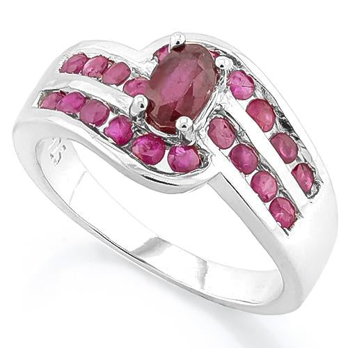 IDEAL ! AFRICAN RUBY & MORE THAN 20CT, PLEASE ENTRY CARAT RUBY 925 STERLING SILVER RING