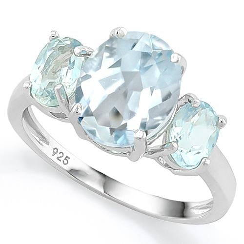 3 1/2 CT AQUAMARINE & 1 1/5 CT BABY SWISS BLUE TOPAZ 925 STERLING SILVER RING