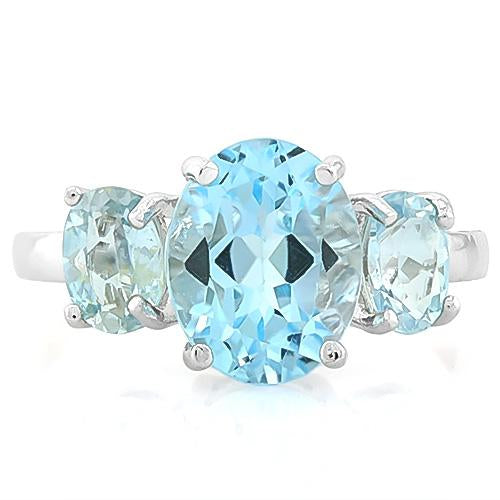 MARVELOUS ! 5 3/5 CARAT BABY SWISS BLUE TOPAZ 925 STERLING SILVER RING