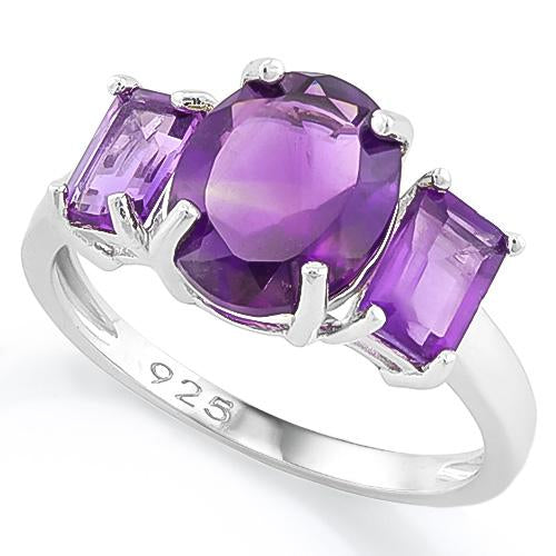 3 3/5 CT AMETHYST 925 STERLING SILVER RING