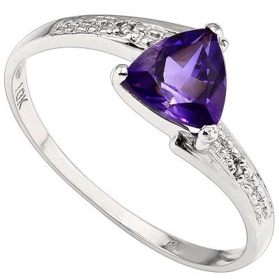 EXQUISITE 0.35 CT AMETHYST & 2 PCS WHITE DIAMOND 10K SOLID WHITE GOLD RING
