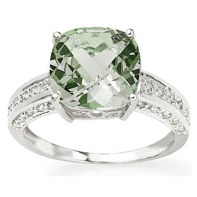 CHARMING 3.95 CT GREEN AMETHYST & 30 PCS WHITE DIAMOND 10K SOLID WHITE GOLD RING