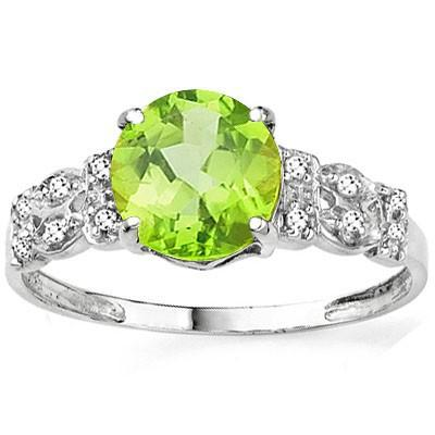 PRECIOUS 2.17 CT PERIDOT & 12 PCS WHITE DIAMOND 10K SOLID WHITE GOLD RING