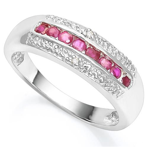 2/5 CT RUBY & DIAMOND 925 STERLING SILVER RING