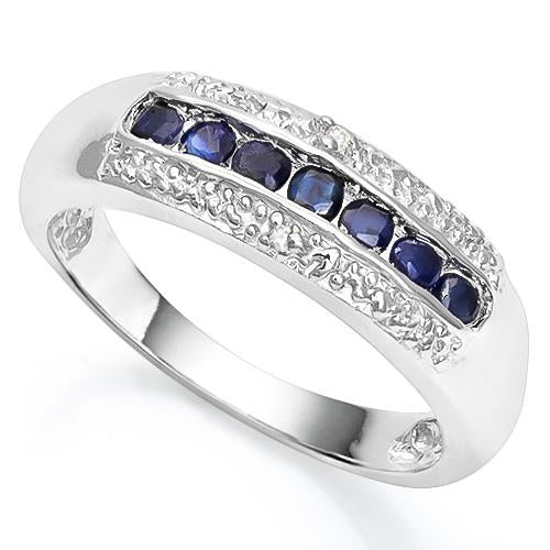 2/5 CT SAPPHIRE & DIAMOND 925 STERLING SILVER RING