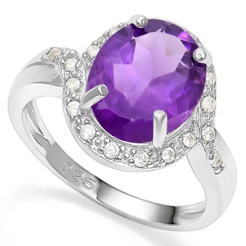 3 1/5 CT AMETHYST & CREATED WHITE SAPPHIRE 925 STERLING SILVER RING
