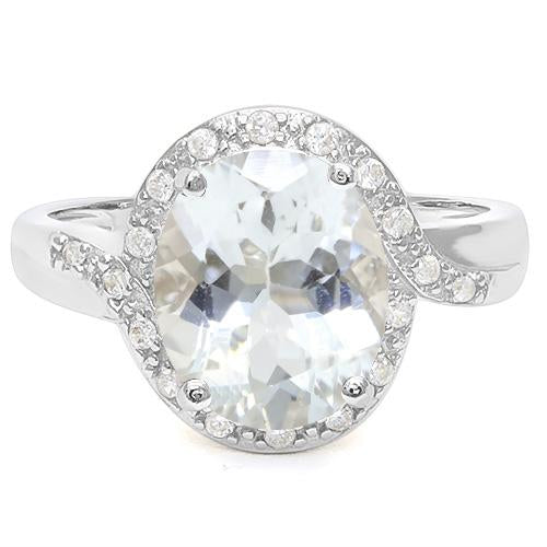 4 1/2 CT AQUAMARINE &   CREATED WHITE SAPPHIRE 925 STERLING SILVER RING