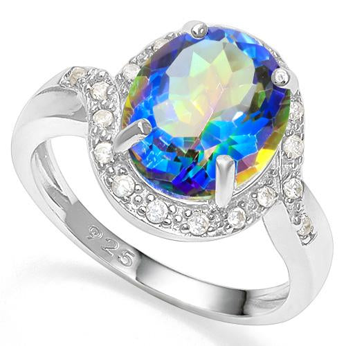 3 1/5 CT OCEAN MYSTIC GEMSTONE &   CREATED WHITE SAPPHIRE 925 STERLING SILVER RING