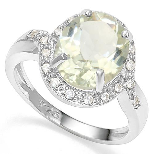 3 1/5 CT GREEN AMETHYST & CREATED WHITE SAPPHIRE 925 STERLING SILVER RING