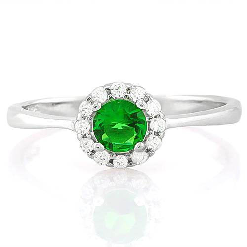 PRECIOUS ! 1/2 CARAT CREATED EMERALD & (12 PCS) FLAWLESS CREATED DIAMOND 925 STERLING SILVER RING