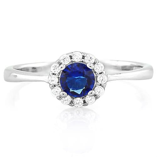 SMASHING ! 1/2 CARAT CREATED BLUE SAPPHIRE & (12 PCS) FLAWLESS CREATED DIAMOND 925 STERLING SILVER RING