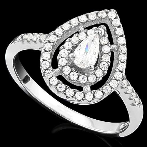 PRETTY ! 0.30 CT CREATED DIAMOND & 53PCS CREATED DIAMOND 925 STERLING SILVER RING