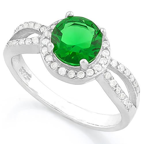 LOVELY ! 1 1/3 CARAT CREATED EMERALD & 2/5 CARAT (44 PCS) FLAWLESS CREATED DIAMOND 925 STERLING SILVER RING