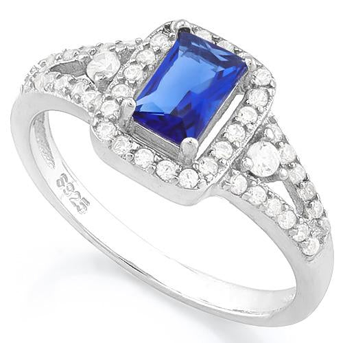 MESMERIZING ! 2/3 CARAT CREATED BLUE SAPPHIRE & 4 3/5 CARAT (46 PCS) FLAWLESS CREATED DIAMOND 925 STERLING SILVER RING