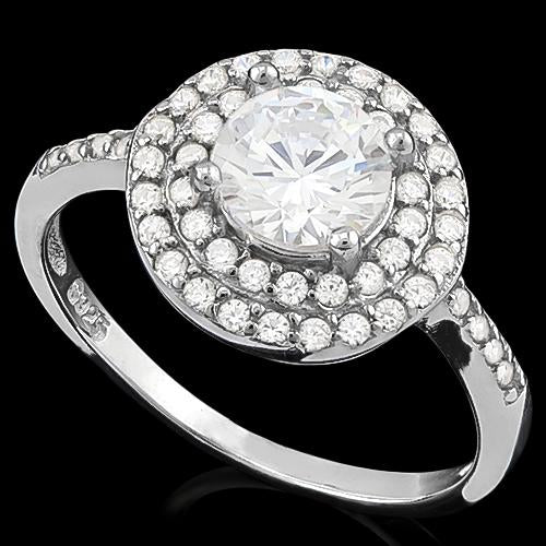PRECIOUS ! 1 3/4 CARAT (48 PCS) FLAWLESS CREATED DIAMOND 925 STERLING SILVER RING