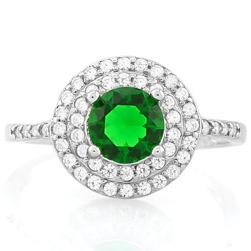 PRETTY ! 1 1/3 CARAT CREATED EMERALD & 1/2 CARAT (47 PCS) FLAWLESS CREATED DIAMOND 925 STERLING SILVER RING