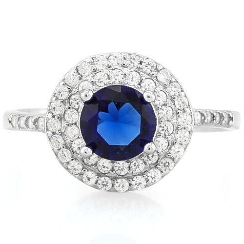 MARVELOUS ! 1 1/3 CARAT CREATED BLUE SAPPHIRE & 1/2 CARAT (47 PCS) FLAWLESS CREATED DIAMOND 925 STERLING SILVER RING