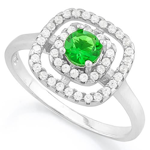 SUPERB ! 3/5 CARAT CREATED EMERALD & 2/5 CARAT (44 PCS) FLAWLESS CREATED DIAMOND 925 STERLING SILVER RING