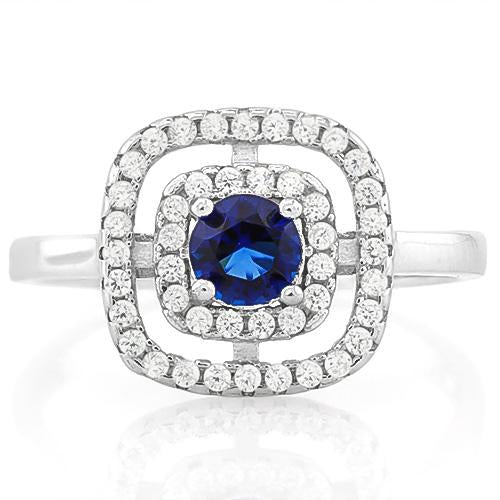 EXQUISITE ! 3/5 CARAT CREATED BLUE SAPPHIRE & 2/5 CARAT (44 PCS) FLAWLESS CREATED DIAMOND 925 STERLING SILVER RING
