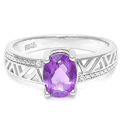 1 CT AMETHYST  925 STERLING SILVER RING