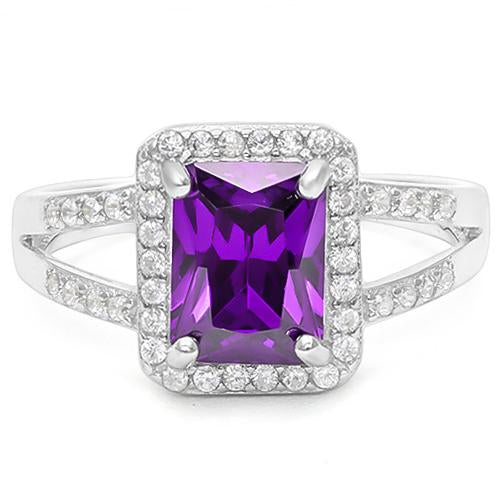 1 1/2 CARAT CREATED AMETHYST &  1/5 CARAT CREATED WHITE SAPPHIRE 925 STERLING SILVER RING