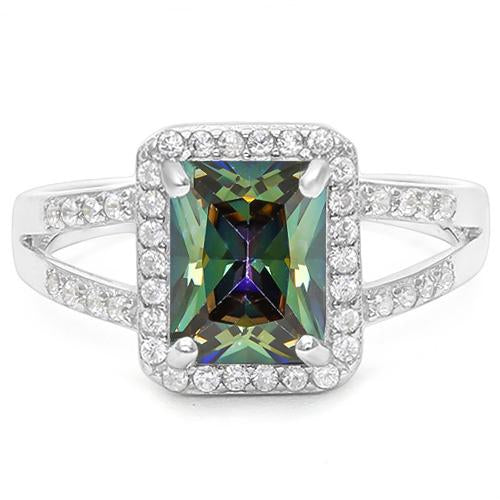 1 1/2 CARAT CREATED GREEN MYSTIC GEMSTONE &  1/5 CARAT CREATED WHITE SAPPHIRE 925 STERLING SILVER RING