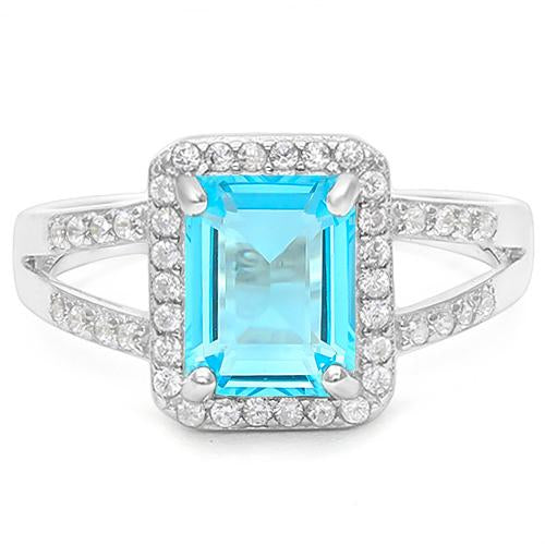 1 1/2 CARAT CREATED BLUE TOPAZ &  1/5 CARAT CREATED WHITE SAPPHIRE 925 STERLING SILVER RING