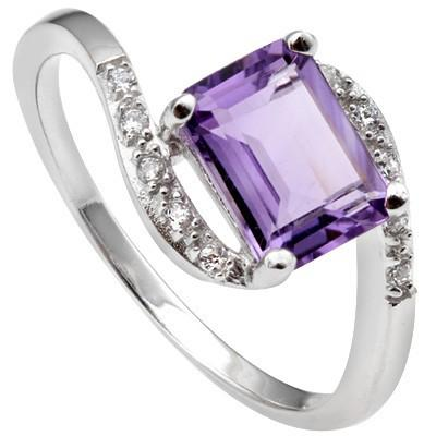 1.45 CT AMETHYST & 6 PCS CREATED WHITE SAPPHIRE PLATINUM OVER 0.925 STERLING SILVER RING
