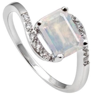 1.57 CARAT TW LAB OPAL & CREATED WHITE SAPPHIRE  PLATINUM OVER 0.925 STERLING SILVER RING