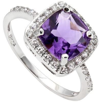 1.31 CT 6MM CUSHION AMETHYST & 24 PCS CREATED WHITE SAPPHIRE PLATINUM OVER 0.925 STERLING SILVER RING6