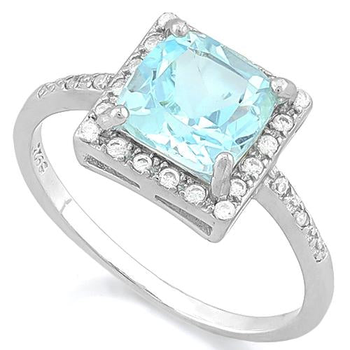 IMMACULATE ! 1 4/5 CARAT BABY SWISS BLUE TOPAZ & (24 PCS) FLAWLESS CREATED DIAMOND 925 STERLING SILVER RING