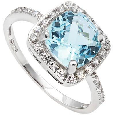 1.31 CT BLUE TOPAZ & 24 PCS CREATED WHITE SAPPHIRE PLATINUM OVER 0.925 STERLING SILVER RING
