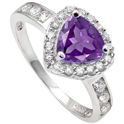 1.95 CARAT TW (28 PCS) AMETHYST & CREATED WHITE SAPPHIRE  PLATINUM OVER 0.925 STERLING SILVER RING